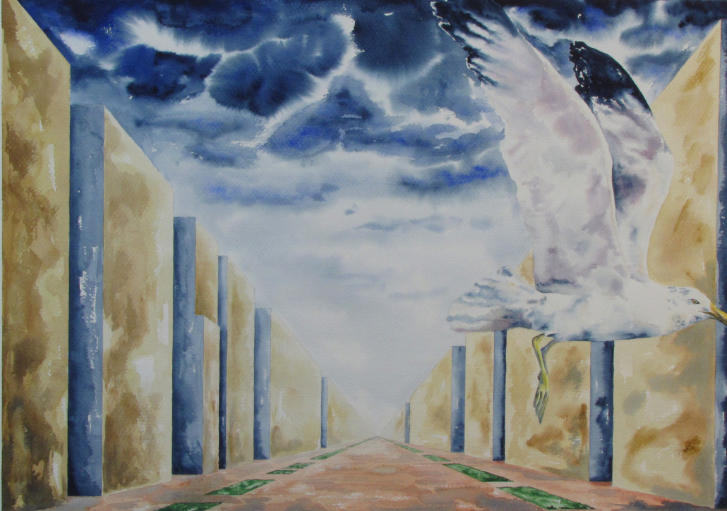 A seagull flies through an alleyway of buildings in this interpretive painting.