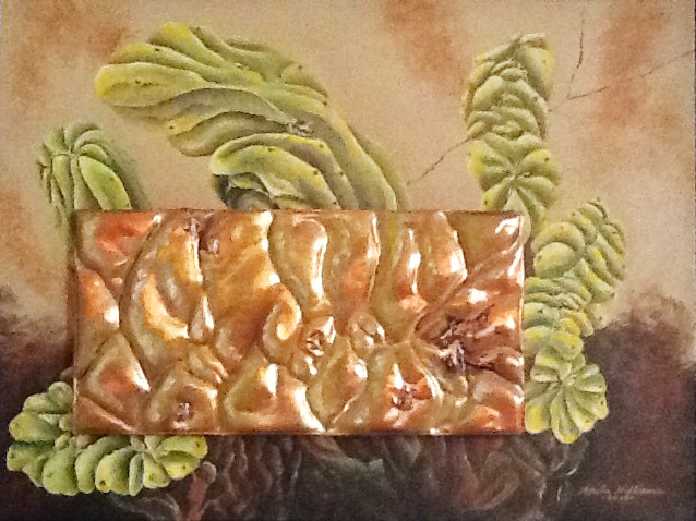 """Acrylic painting of """"grotesque"""" succulent with detailed image worked in copper repousse and applied on top of canvas."""