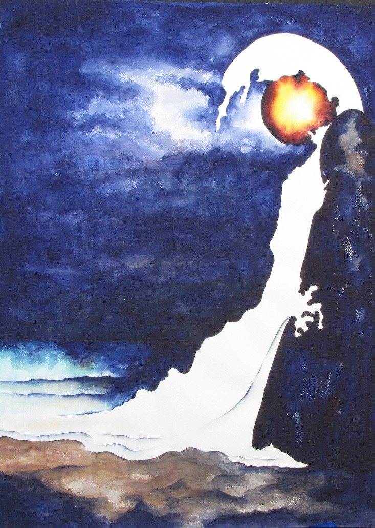 Abstract, interpretive watercolor of a wave crashing against rocks in a moonlit night sky.
