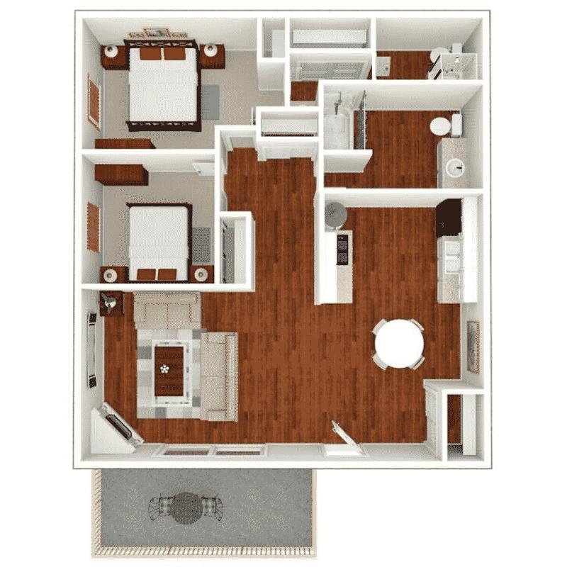 2 BED 2 BATH 1,080 Sq. Ft. floor plan