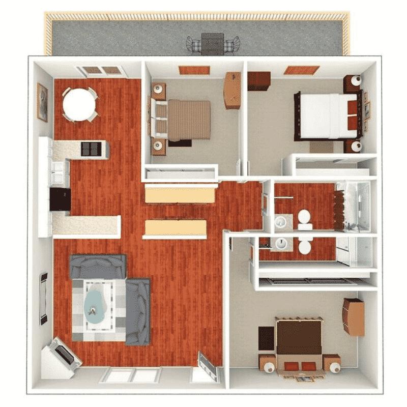 3 BED 2 BATH 1,300 Sq. Ft. floor plan