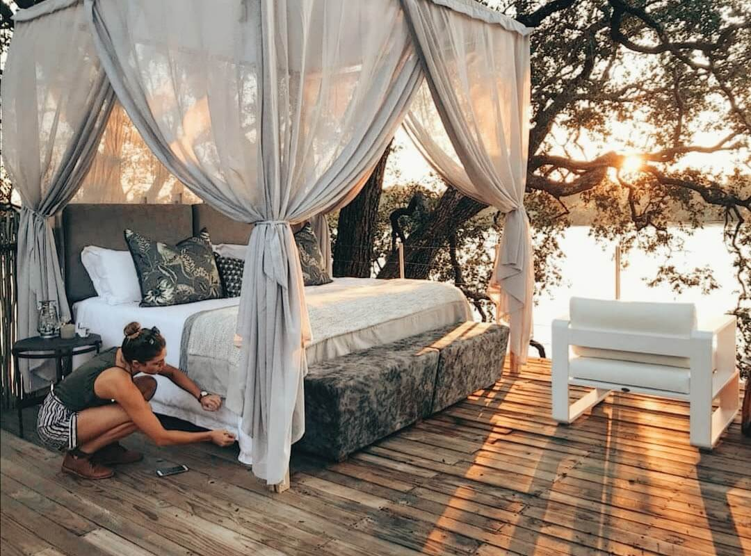 Image of Jena Gradwell styling the Island Treehouse Suites of Victoria Falls River Lodge