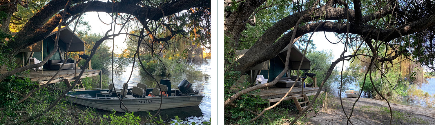 Two pictures of Peter's tent comparing water levels