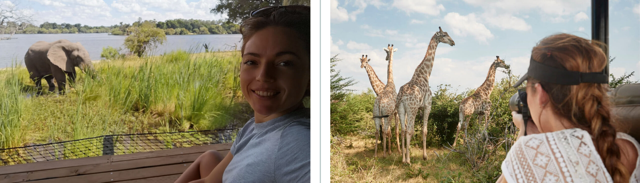 Images of Jena Gradwell looking at Giraffe & Elephant
