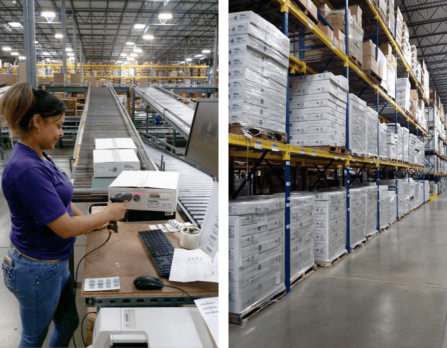 An inventory management employee scans a box of security banking packaging at a manufacturing facility.