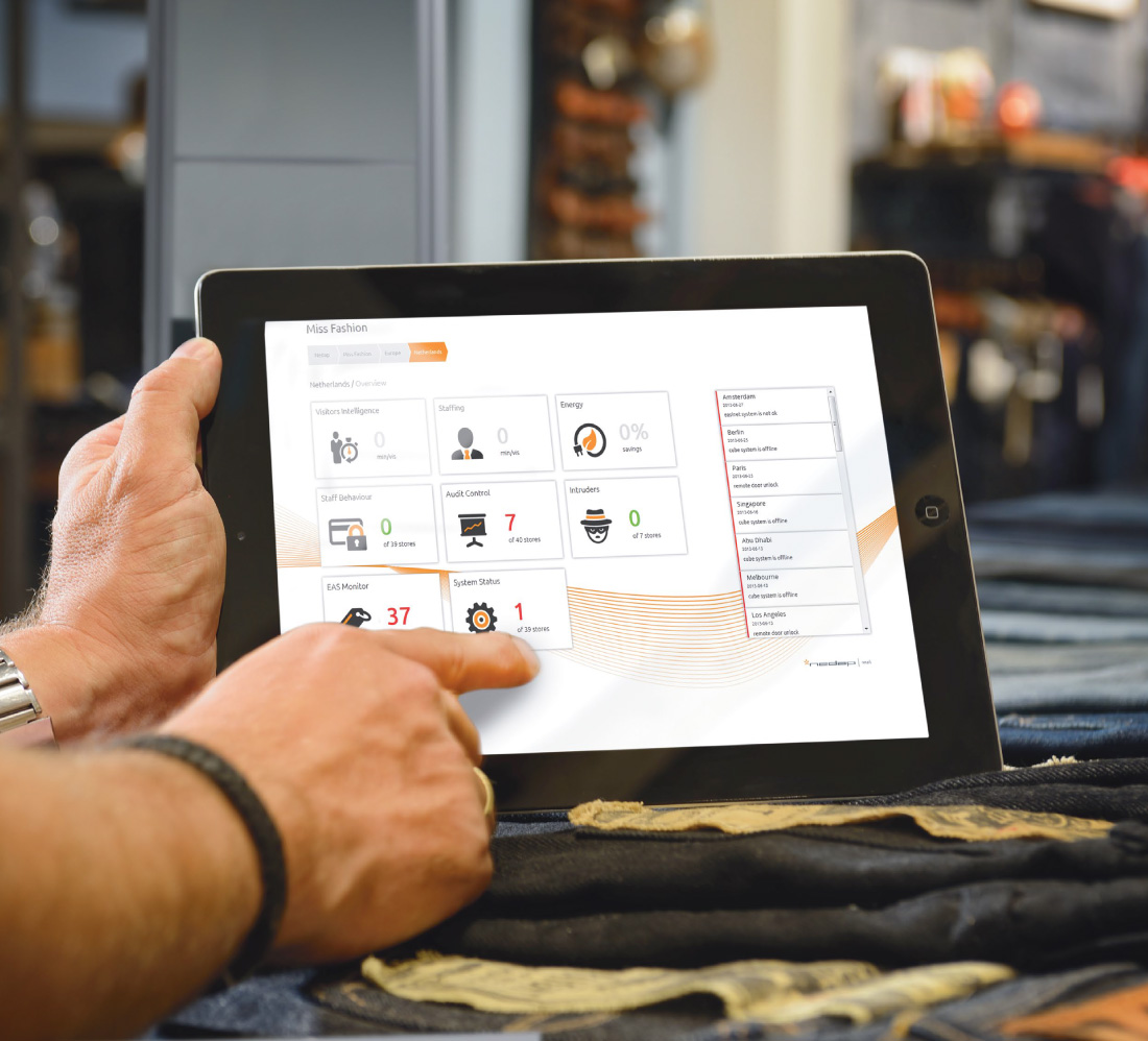 Tablet with hand displaying EAS and RFID security solutions.