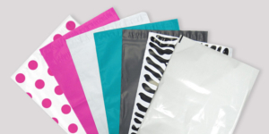 A variety of custom printed poly mailers