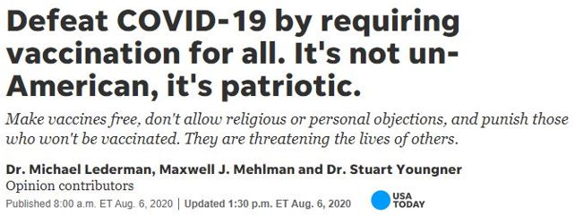 Doctors argue that to defeat COVID-19 a vaccination must be mandatory for all—no religious or personal exemptions or objections allowed