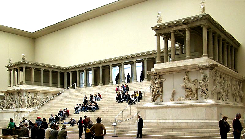 The western side of the Pergamon Altar (Satan's Throne) as reconstructed in the Pergamon Museum in Berlin