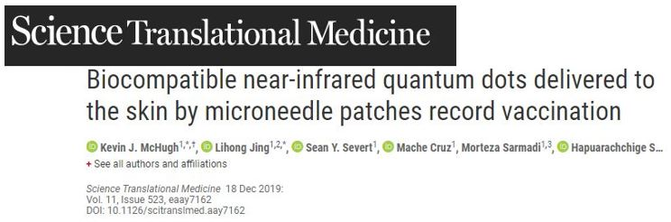Biocompatible near-infrared quantum dots delivered to the skin by microneedle patches record vaccination—Mandatory COVID vaccination the coming Mark of the Beast?