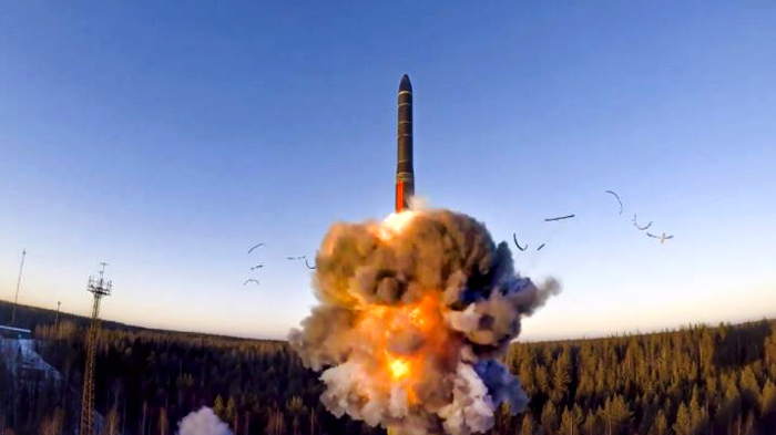 Launch of ground-based ICBM from the Plesetsk facility in northwestern Russia during Russian military drill of its strategic nuclear forces on December 9, 2020 (Source: Russian Ministry Press Service)