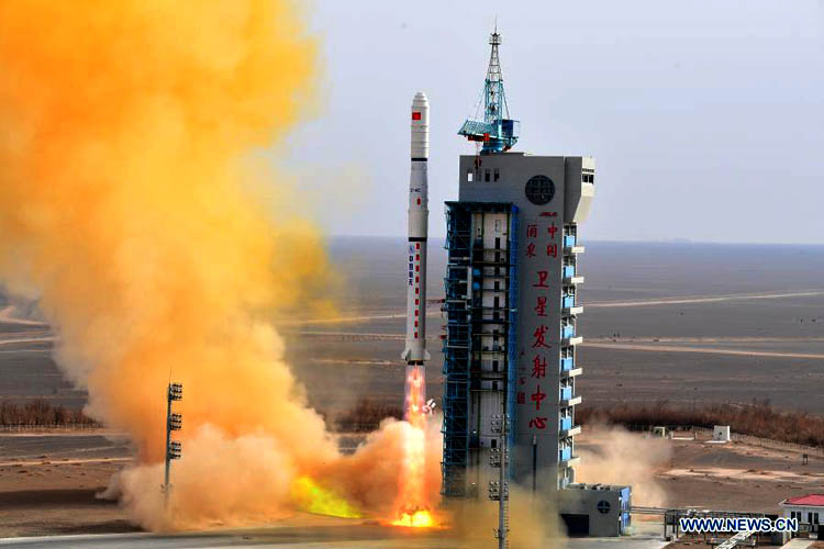 A Long March-4C rocket carrying the fourth group of China's Yaogan-31 remote sensing satellites blasts off from the Jiuquan Satellite Launch Center in northwest China, March 13, 2021. (Source: Xinhua  Photo: Wang Jiangbo/Xinhua