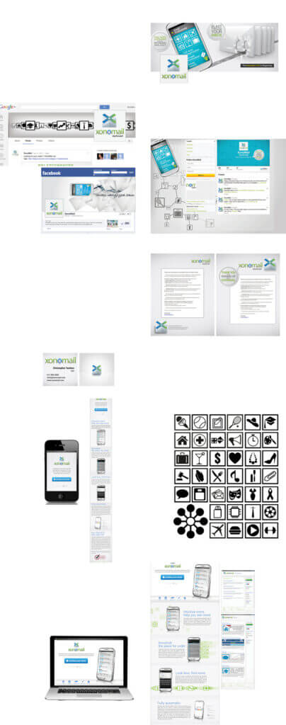 SEO design series for the app Xonomail. Included are a Facebook profile image and cover photo, Google Plus profile image and cover photo, email blast templates, and mobile and desktop website design.