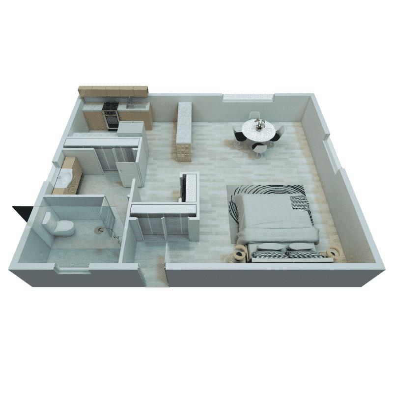 Studio 1 Bath 464 Sq. Ft. floor plan