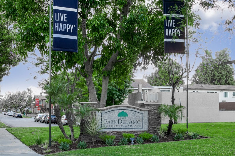 Park Del Amo sign monument and Live Happy Banner