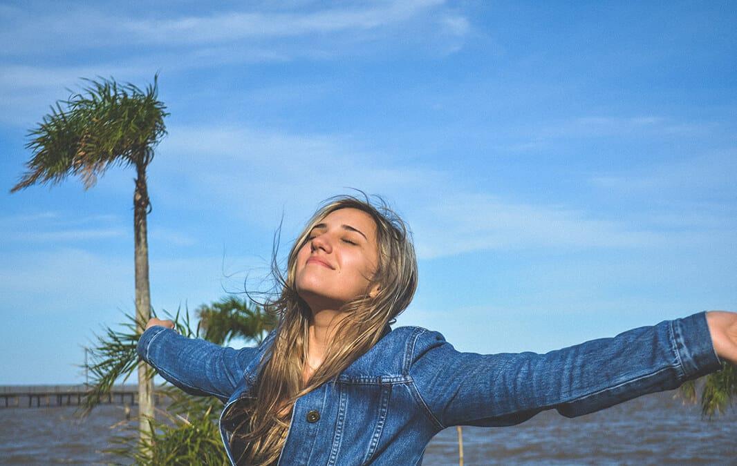 Woman enjoying breeze