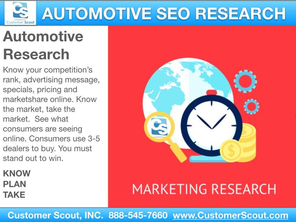 Customer Scout Automotive SEO Market Research