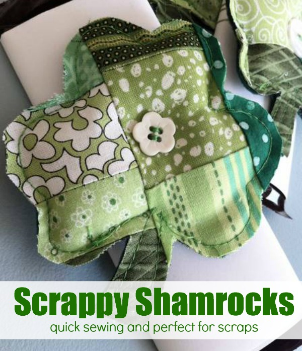 The Scrappy Shamrock is an easy project to clear out your scrap basket. Create a bunch and wrap them around a chocolate bar for an easy holiday treat.