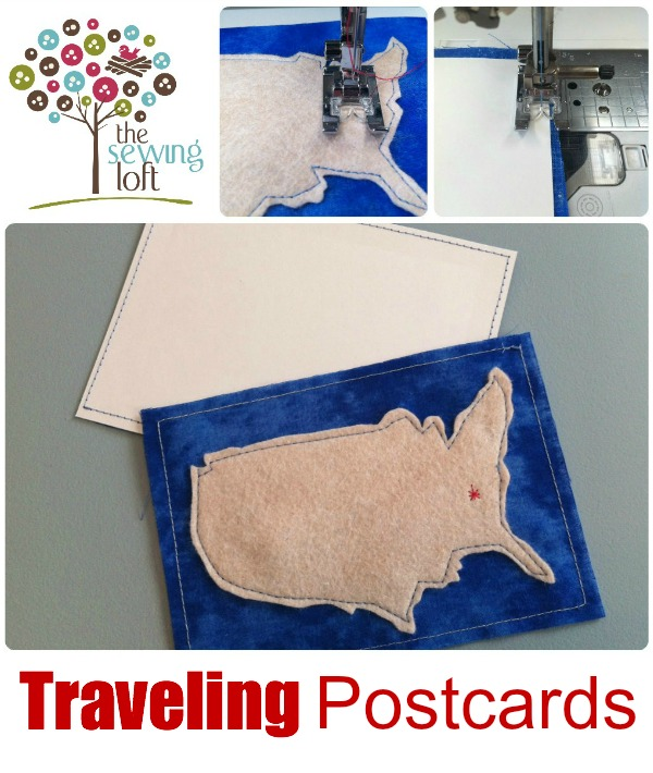 These easy fabric postcards are great for summer vacations. Add your pin dot on the map for a fun visual. The Sewing Loft