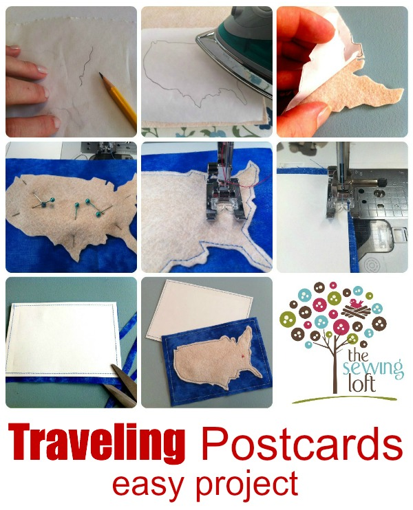 These easy fabric postcards are great for summer vacations. Add your pin dot on the map for a fun visual.