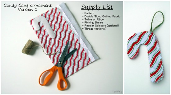 Candy Cane Ornaments by sewVery on thesewingloftblog.com