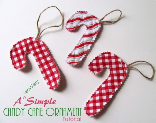 Candy Cane Ornament via thesewingloftblog.com #diy #sewing #holiday