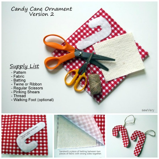 Candy Cane Ornament by sewVery via thesewingloftblog.com #diy #sewing #holiday