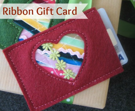 Turns ribbon scraps into a gift card holder on The Sewing Loft