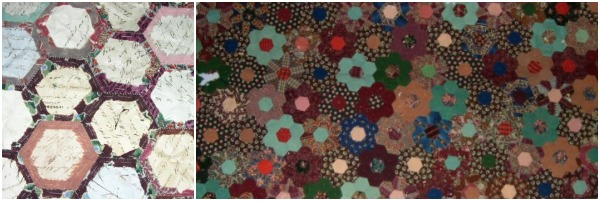 Learn about English Paper Piecing and Hexie How to on The Sewing Loft.  Image of Historic Mosaic Quilt. Maker not on record. ca. 1850
