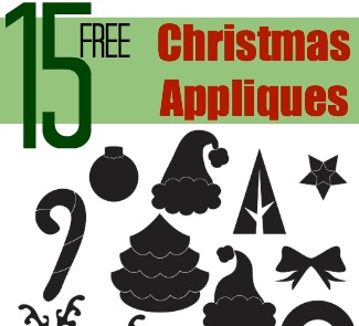 Download 15 Free Christmas Appliqué Designs to embellish your holiday projects with on The Sewing Loft #freepattern #applique