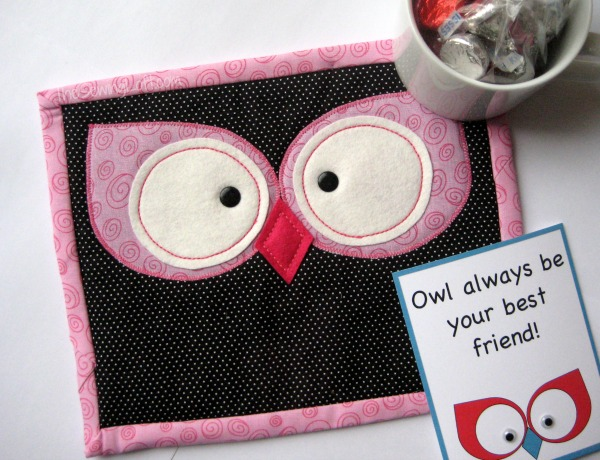Owl Mug Rug Pattern on The Sewing Loft