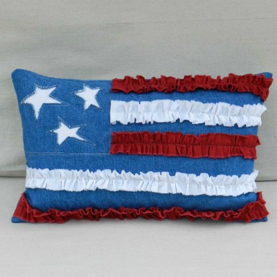 American Flag Ruffle Pillow on The Sewing Loft