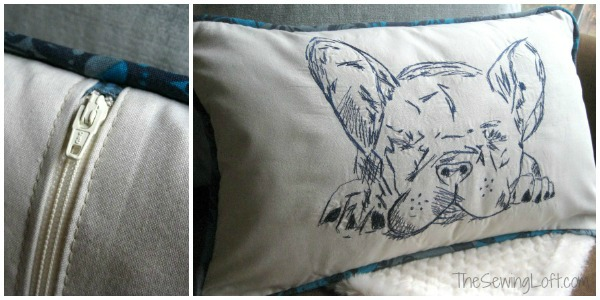 French Bulldog Pillow Project Details by The Sewing Loft #freemotion #homedecor