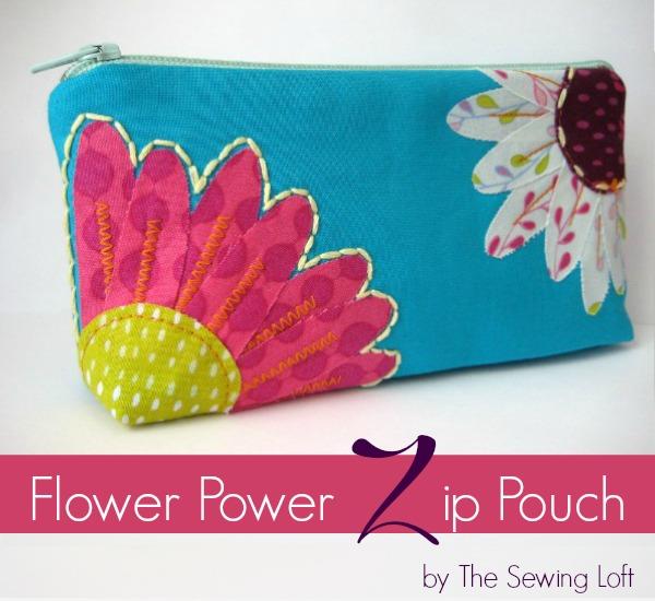Flower Zipper Pouch Pattern. The Sewing Loft #freepattern