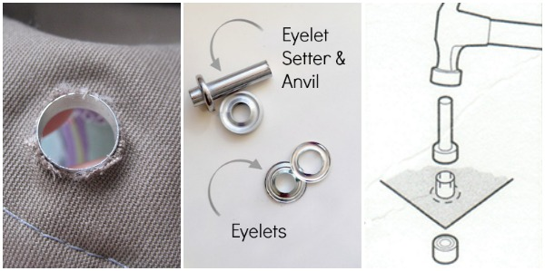 Add eyelets to scrap bucket bag. The Sewing Loft