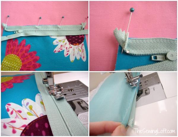 Inserting zipper to flower zipper pouch pattern. The Sewing Loft