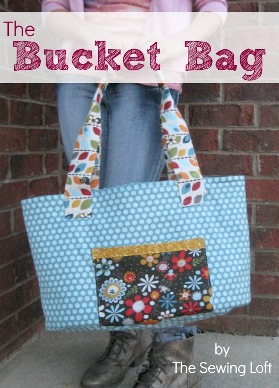 Big oversized bucket bag is perfect for overnight visits and trips to the beach. Free pattern download. The Sewing Loft