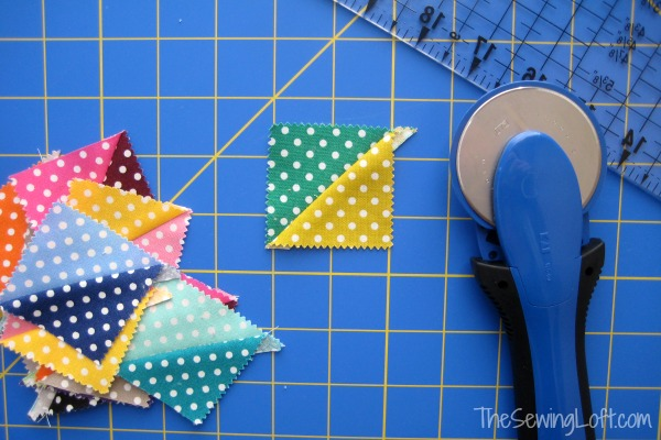 Half Square Triangles for my Dritz Mystery Box Challenge Goodies