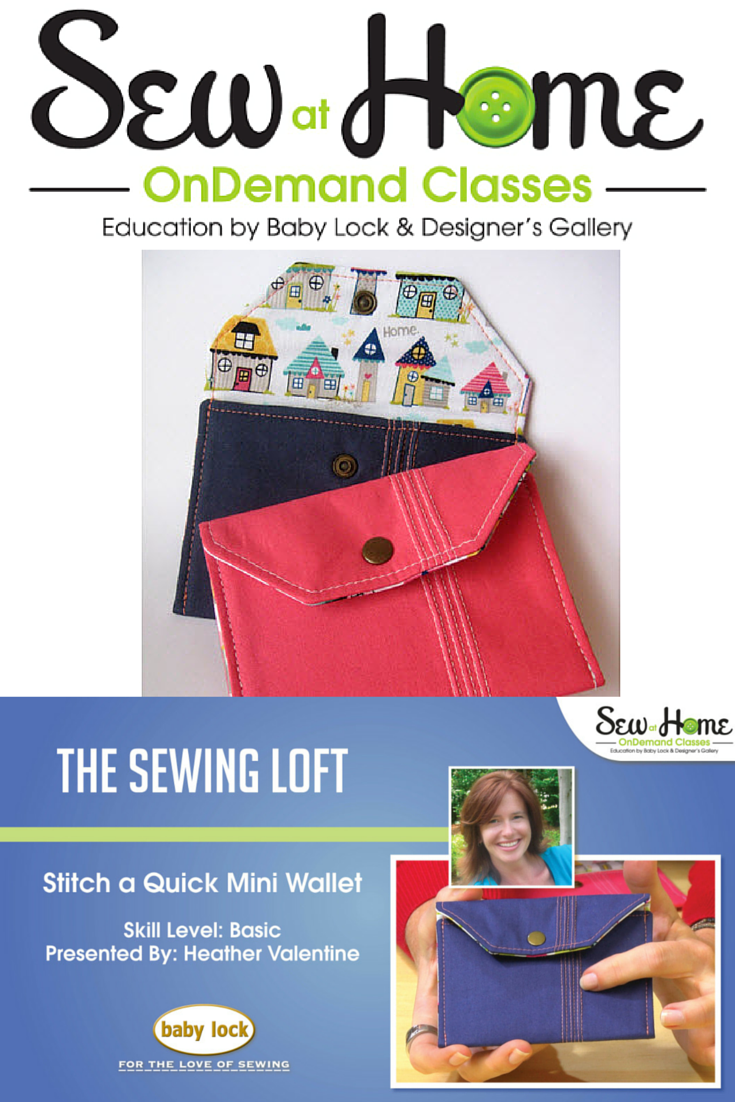 Learn how to create a simple pintuck and make this mini wallet in my free video class with Sew at Home. The Sewing Loft