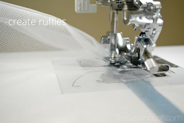Learn tips for sewing with tulle like how to quickly ruffle tulle. The Sewing Loft