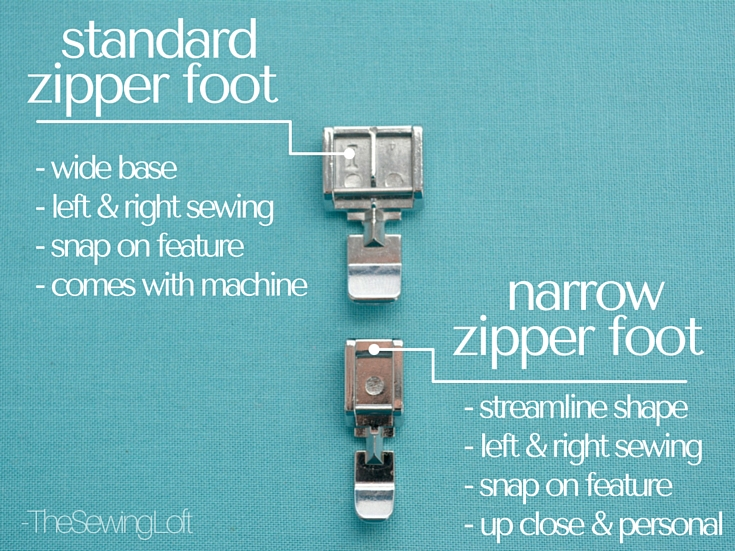Differences between the standard zipper foot vs the narrow zipper foot. Learn why the narrow zipper foot is a MUST have! The Sewing Loft