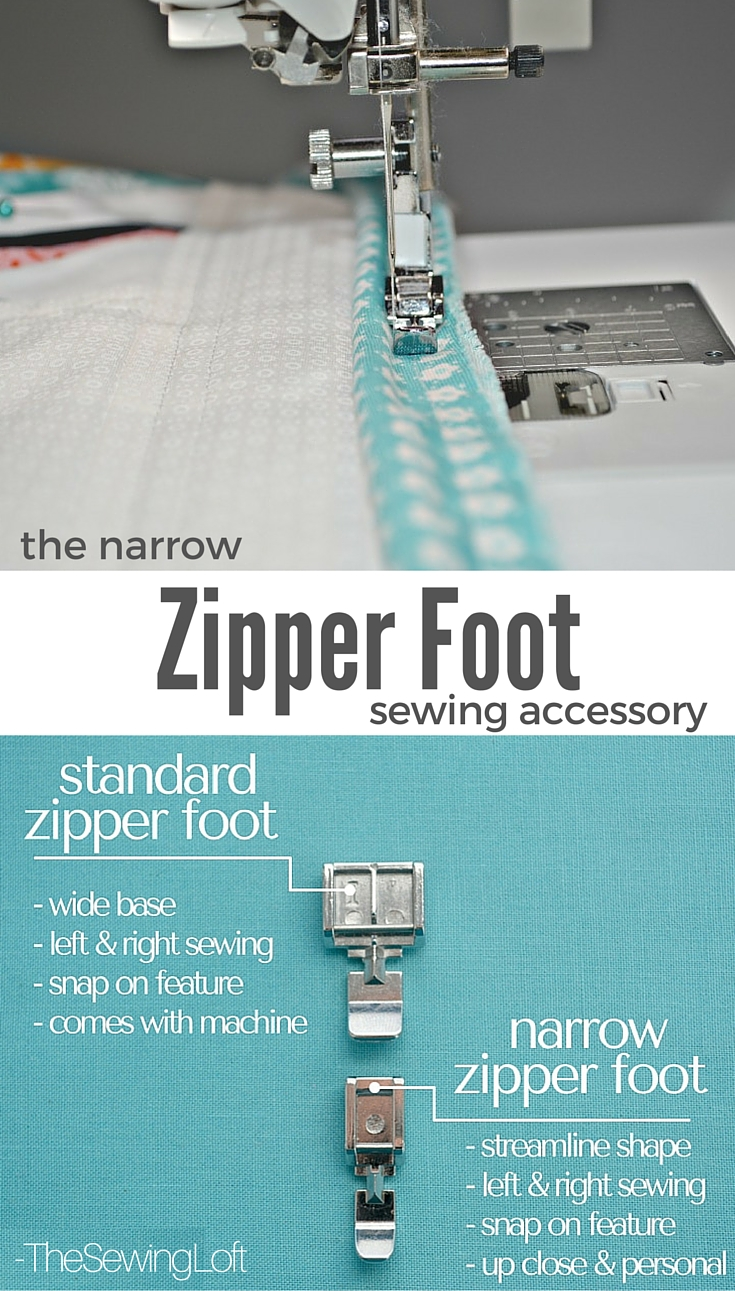 Check out the differences between the standard zipper foot vs the narrow zipper foot. Learn why the narrow zipper foot is a MUST have! The Sewing Loft.