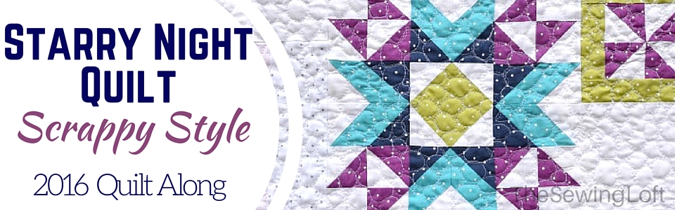 Come join the fun and bust through your scraps with the Scrappy Starry Night Quilt Block of the Month series on The Sewing Loft.