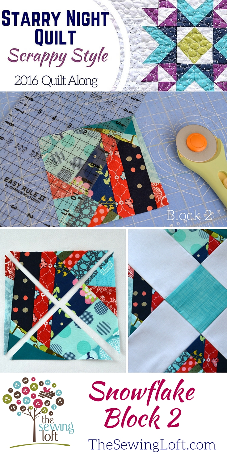 I'm turning my leftover fabric scraps into this fabulous quilt one block at a time with The Sewing Loft's Starry Night Quilt and I love the way it looks!