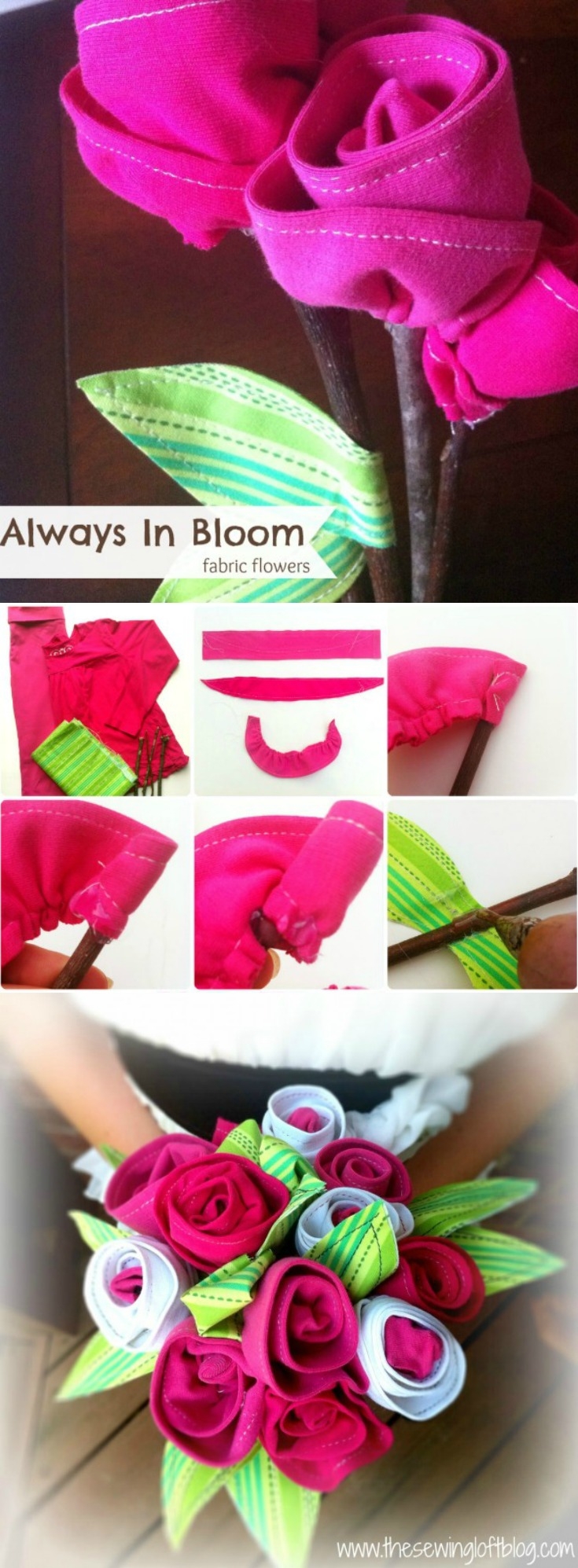 Create these amazing fabric flowers from keepsake items like tee shirts, special occasion dresses, onesies and more. Learn how on The Sewing Loft.