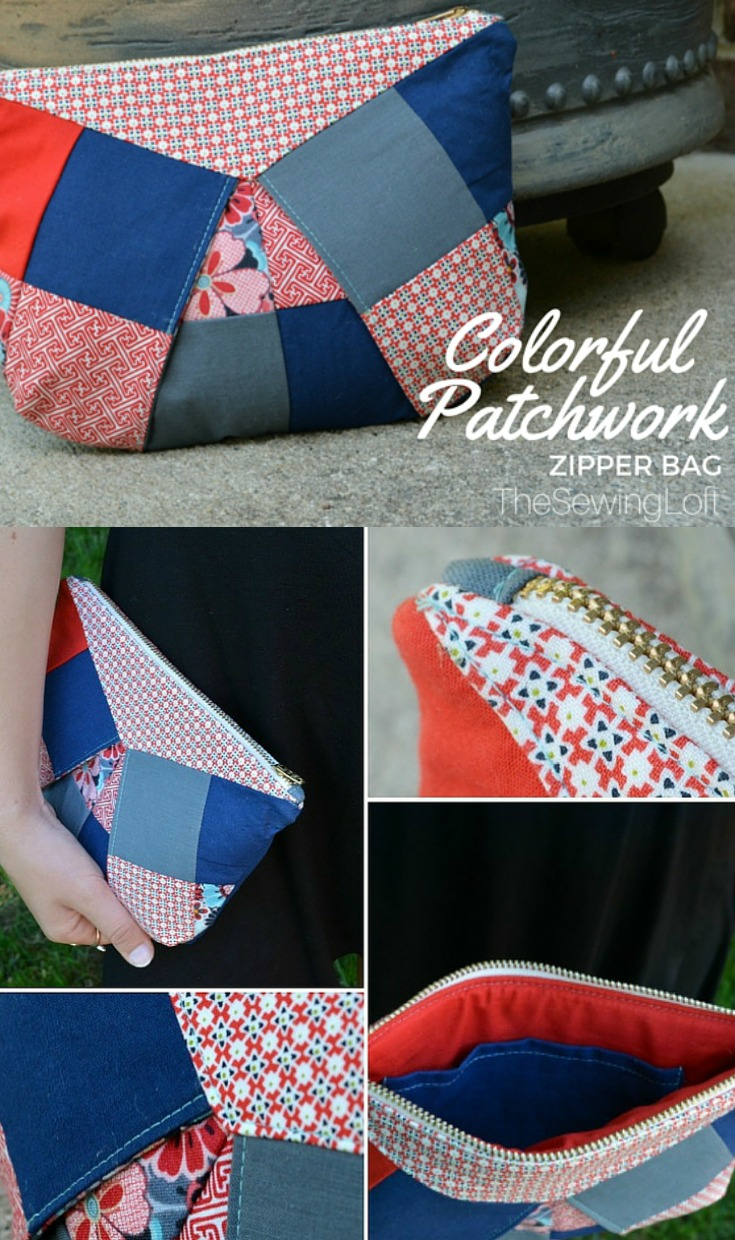 I learned how to make these colorful patchwork bags in Caroline's new class on Craftsy.