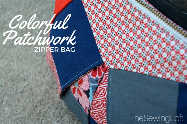 This zipper bag was made with the pattern from Craftsy class Colorful Patchwork Bags