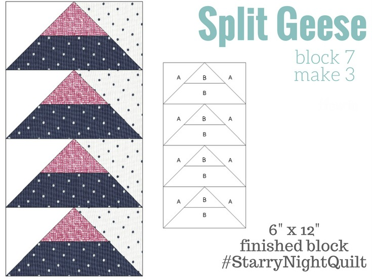 It's time for the next block in the Starry Night Quilt Sampler - Split Geese Block 7. Come join the fun and Increase your skill set with a block of the Month sewing series on The Sewing Loft.