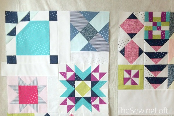 Stitching together the Starry Night Quilt Top. Free Quilt Pattern by The Sewing Loft