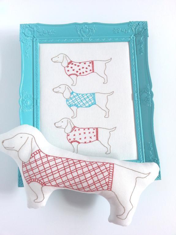 embroidery pattern wiener dogs